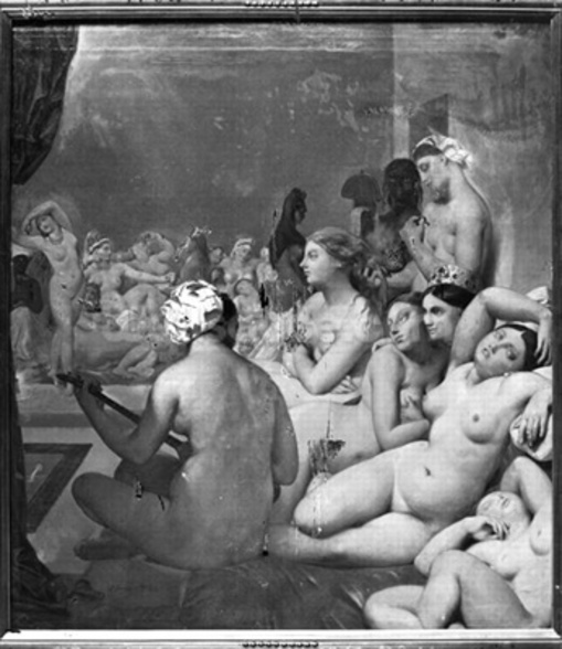 The Turkish Bath, 7th October 1859 (oil on canvas) (b/w photo) wall mural