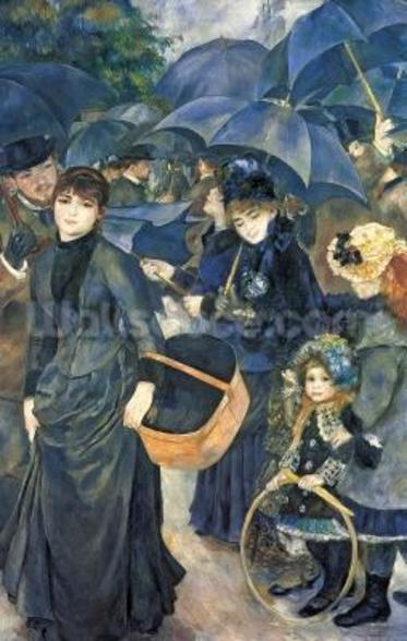 The Umbrellas, c.1881-6 (oil on canvas) mural wallpaper