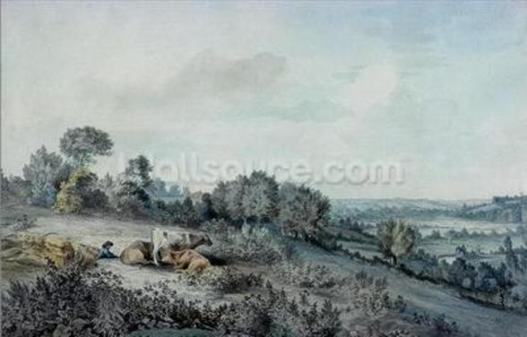 The Valley of the Stour, looking towards East Bergholt, 1880 (pencil, pen and ink and watercolour on paper) mural wallpaper
