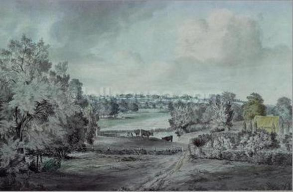 The Valley of the Stour, with Langham church in the distance (w/c on paper) wall mural