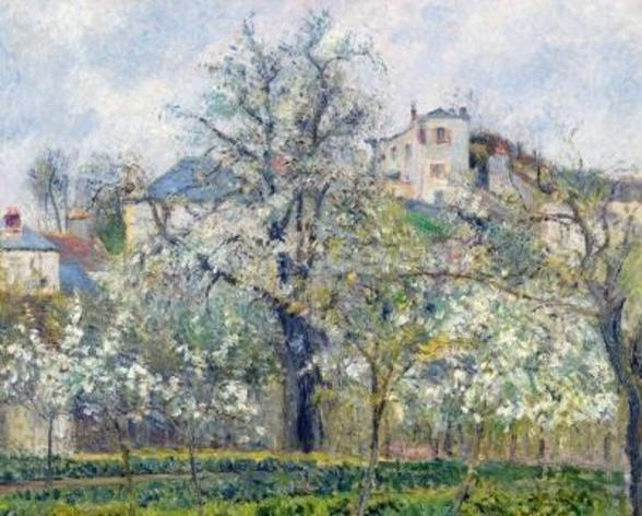 The Vegetable Garden with Trees in Blossom, Spring, Pontoise, 1877 (oil on canvas) wall mural