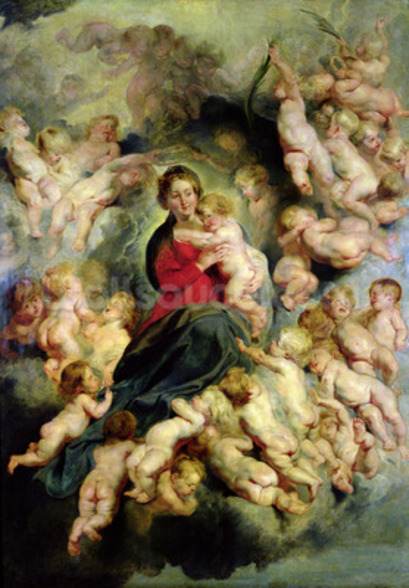 The Virgin and Child surrounded by the Holy Innocents or, The Virgin with Angels, 1618 (oil on canvas) mural wallpaper