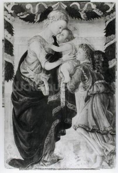 The Virgin and Child with an angel (panel) (b/w photo) wall mural
