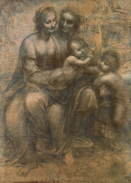 The Virgin and Child with Saint Anne, and the Infant Saint John the Baptist, c.1499-1500 (charcoal heightened with white chalk on paper, mounted on canvas) wall mural