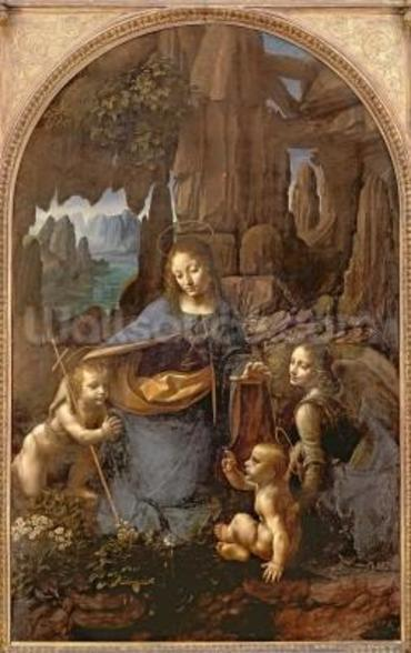 The Virgin of the Rocks (with the Infant St. John adoring the Infant Christ accompanied by an Angel), c.1508 (oil on panel) wall mural