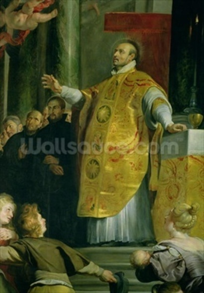 The Vision of St. Ignatius of Loyola (c.1491-1556) detail of the saint, 1617-18 (oil on canvas) wallpaper mural