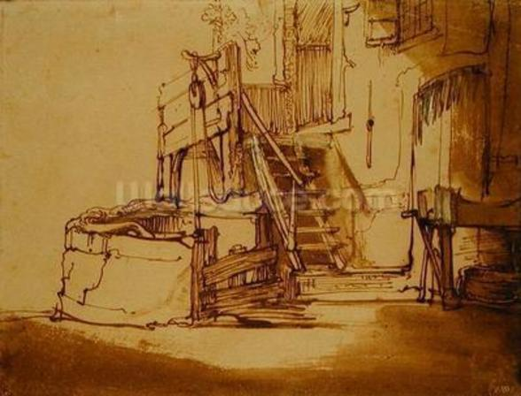 The well in front of the farmhouse (pen and brown ink and brown wash on paper) wall mural
