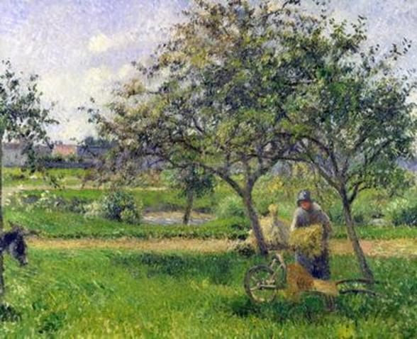 The Wheelbarrow, Orchard, c.1881 (oil on canvas) wallpaper mural