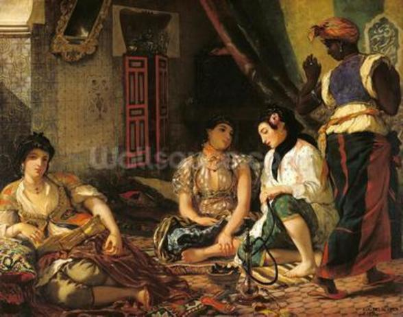 The Women of Algiers in their Apartment, 1834 (oil on canvas) wall mural