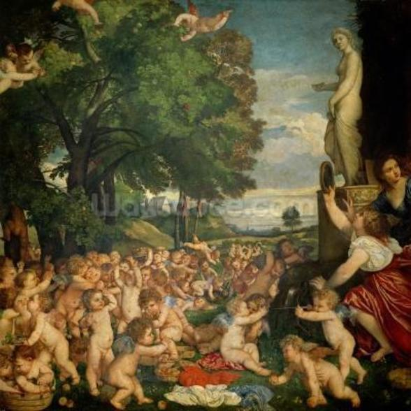 The Worship of Venus, 1519 (oil on canvas) mural wallpaper