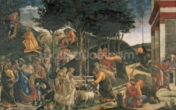 The Youth of Moses, in the Sistine Chapel, 1481 (fresco) (for detail see 315896) wallpaper mural
