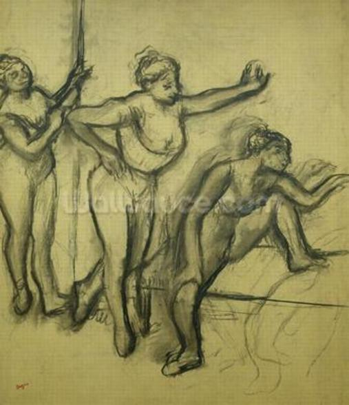 Three Dancers, c.1900 (charcoal on paper) wall mural