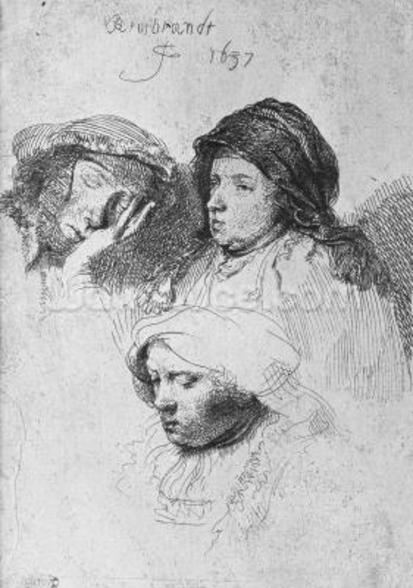 Three female heads with one sleeping, 1637 (etching) (b/w photo) wall mural