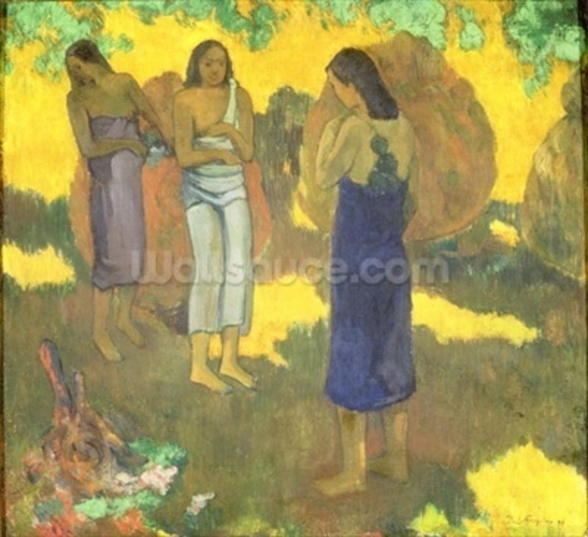 Three Tahitian Women against a Yellow Background, 1899 (oil on canvas) wall mural