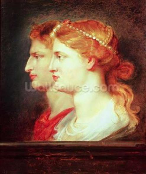 Tiberius (42BC-37AD) and Agrippina, c.1614 (oil on panel) wall mural