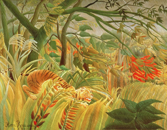 Tiger in a Tropical Storm (Surprised!) 1891 (oil on canvas) wallpaper mural