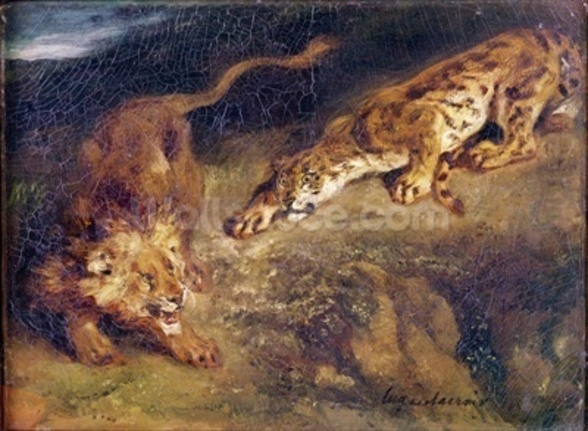 Tiger and Lion (oil on canvas) wall mural