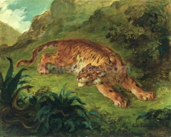 Tiger and Snake, 1858 (oil on paper mounted on panel) wall mural