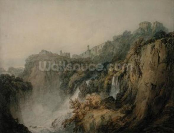 Tivoli with the Temple of the Sibyl and the Cascades, c.1796-97 (w/c over graphite on paper) wall mural