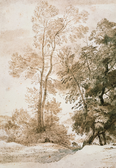 Trees and Deer, after Claude, 1825 (pen & ink with wash on paper) wallpaper mural
