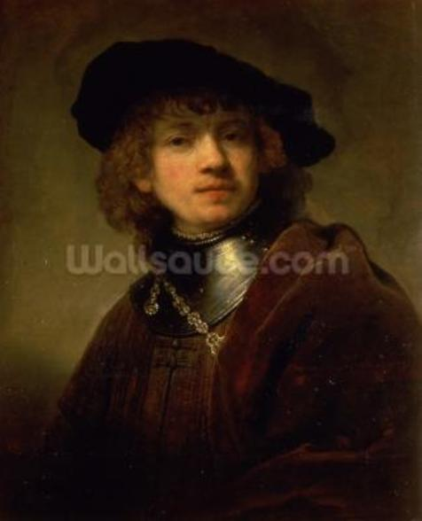 Tronie of a Young Man with Gorget and Beret, c.1639 (oil on panel) wall mural