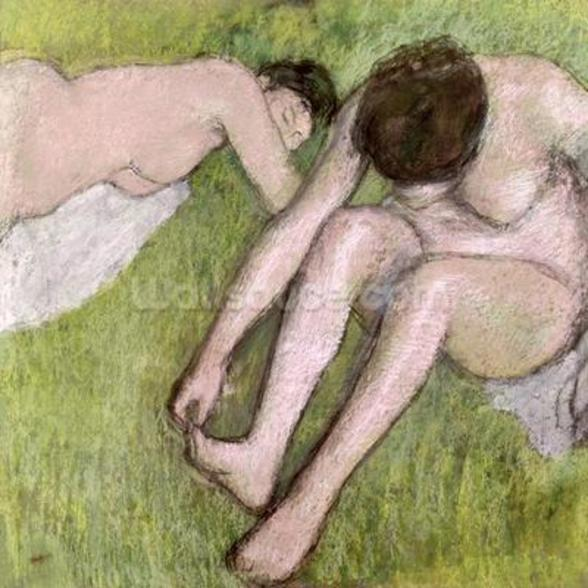 Two Bathers on the Grass, c.1886-90 (pastel on paper) mural wallpaper