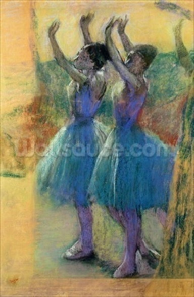 Two Blue Dancers (pastel on paper) mural wallpaper