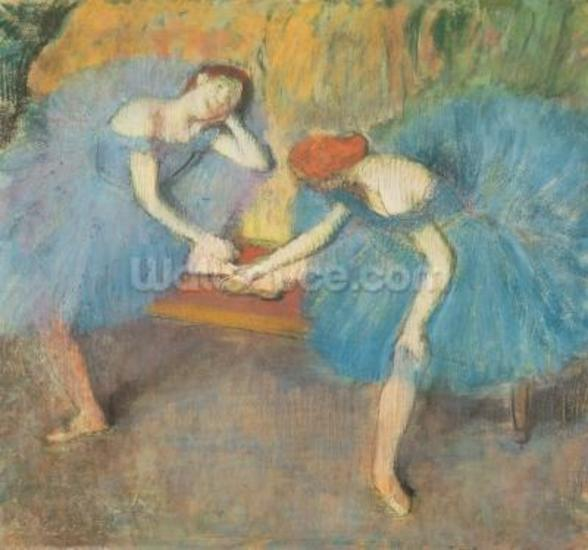 Two Dancers at Rest or, Dancers in Blue, c.1898 (pastel on paper) wall mural
