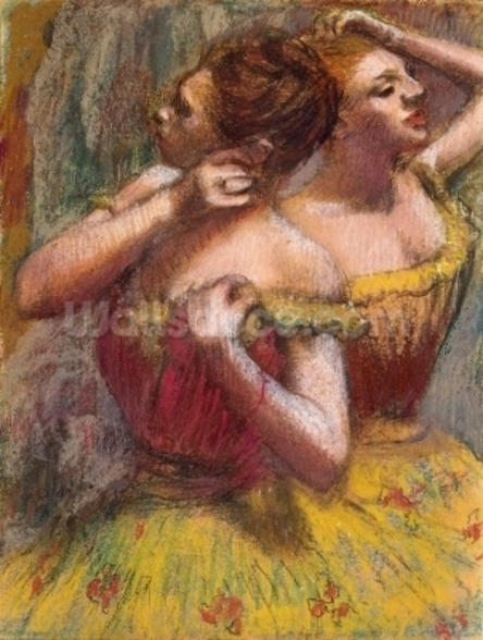 Two Dancers (pastel on paper) wall mural