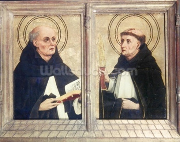Two Dominican Saints (oil on panel) wall mural