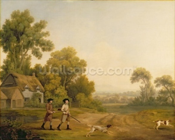 Two Gentlemen Going a Shooting (oil on canvas) wall mural