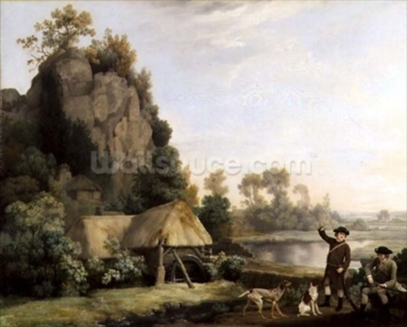 Two Gentlemen Going a Shooting, with a View of Creswell Crags, Taken on the Spot (oil on canvas) mural wallpaper
