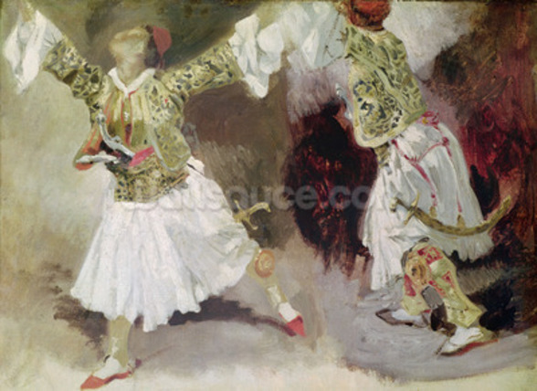 Two Greek Soldiers Dancing (Study of Soliote Dress) (oil on canvas) mural wallpaper