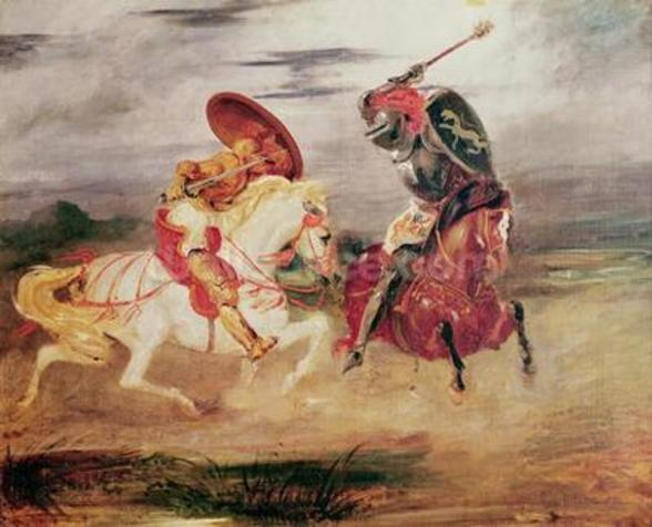 Two Knights Fighting in a Landscape, c.1824 (oil on canvas) wall mural