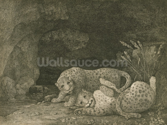 Tygers at Play, engraved by the artist, pub. 1789 (etching) mural wallpaper