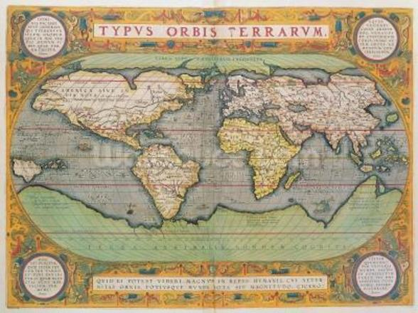 Typus Orbis Terrarum, map of the world, from Orteliuss Theatrum Orbis Terrarum, Antwerp, 1570 (hand-coloured engraving) mural wallpaper