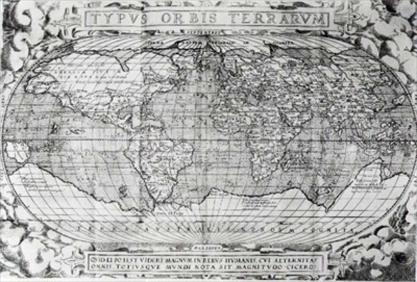 Typus Orbis Terrarum, world map, 1577 (engraving) (b&w photo) wallpaper mural