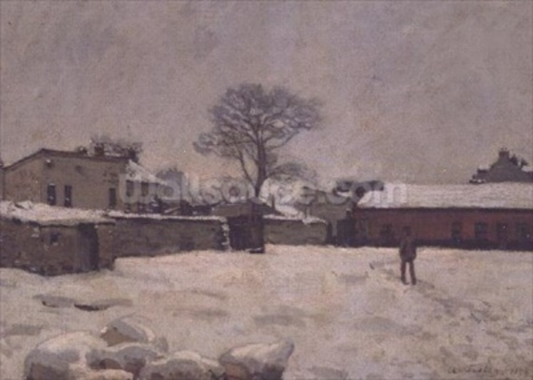 Under Snow: the farmyard at Marly-le-Roi, 1876 (oil on canvas) wall mural