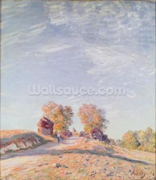 Uphill Road in Sunshine, 1891 (oil on canvas) mural wallpaper