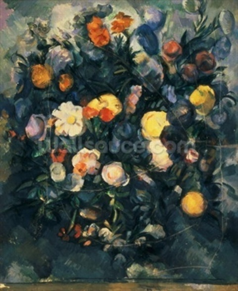 Vase of Flowers, 19th (oil on canvas) wall mural