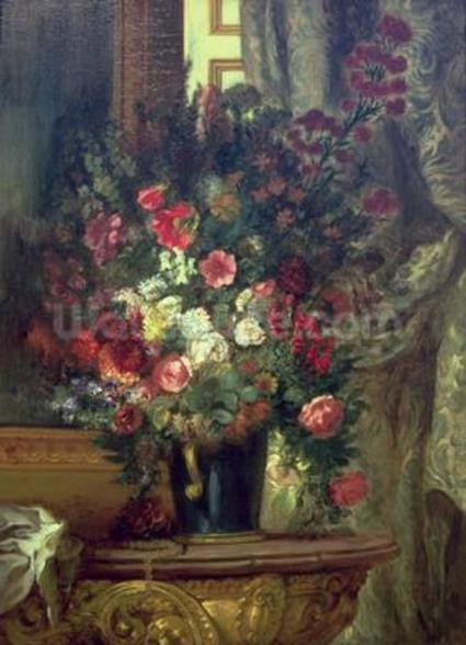 Vase of Flowers on a Console, 1848-49 (oil on canvas) wall mural