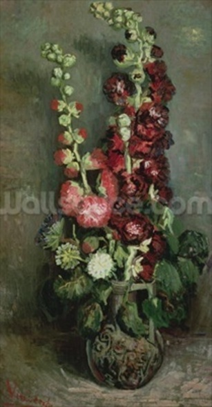 Vase of Hollyhocks, 1886 (oil on canvas) wall mural