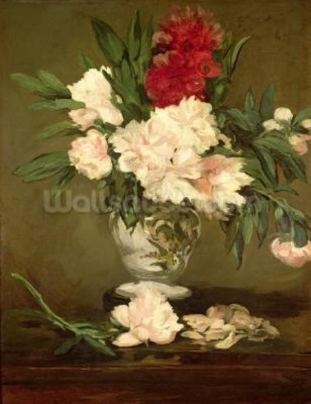 Vase of Peonies on a Small Pedestal, 1864 (oil on canvas) wallpaper mural