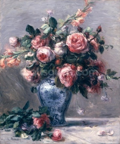 Vase of Roses (oil on canvas) wall mural