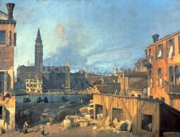 Venice: Campo San Vidal and Santa Maria della Carita (The Stonemasons Yard) 1727-28 (oil on canvas) wall mural