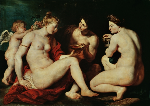 Venus, Cupid, Bacchus and Ceres, 1613 (oil on canvas) wall mural