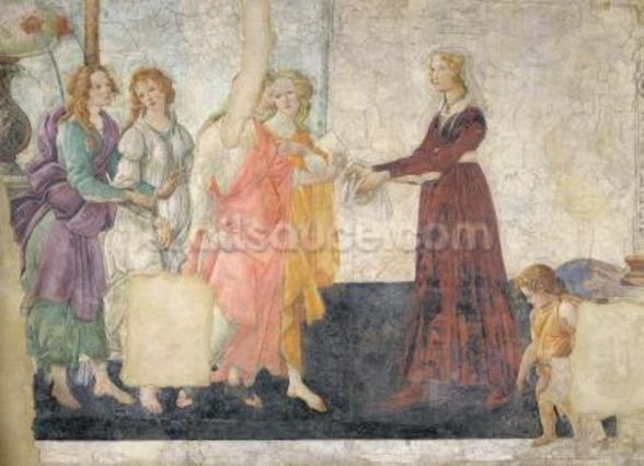 Venus and the Graces offering gifts to a young girl, 1486 (fresco) (for detail see 315895) mural wallpaper