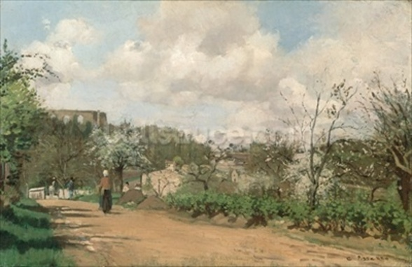 View from Louveciennes, 1869-70 (oil on canvas) mural wallpaper