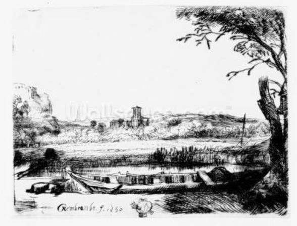 View of a Canal, 1650 (etching) mural wallpaper