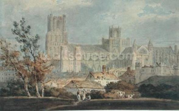 View of Ely Cathedral (pencil & w/c on paper) mural wallpaper